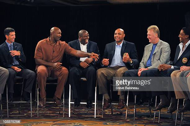 John Stockton Karl Malone Magic Johnson Charles Barkley Larry Bird and Scottie Pippen members of the 1992 Olympic Men's Basketball Team know as the...