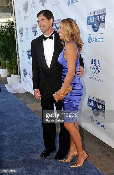 John Stockton member of the 1992 Men's Olympic Basketball Dream Team poses for a photo with wife Nada after arriving for the 2009 US Olympic Hall...