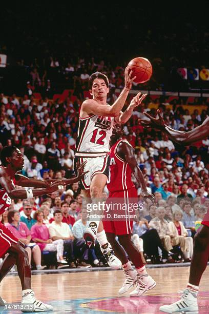 John Stockton of the United States passes the ball against Cuba during the Basketball Tournament of Americas on June 28 1992 at the Veterans Memorial...