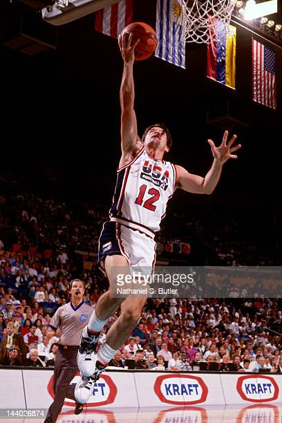 John Stockton of the United States shoots against Panama during the Basketball Tournament of Americas on June 30 1992 at the Veterans Memorial...