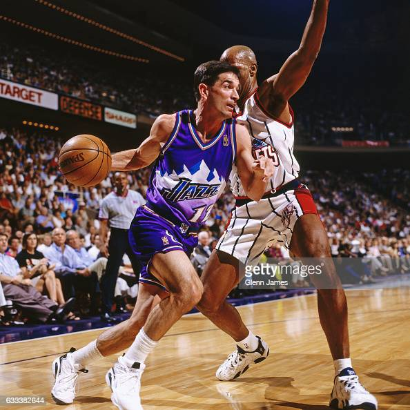 Houston Rockets Western Conference Finals: John Stockton Of The Utah Jazz Dribbles Against The