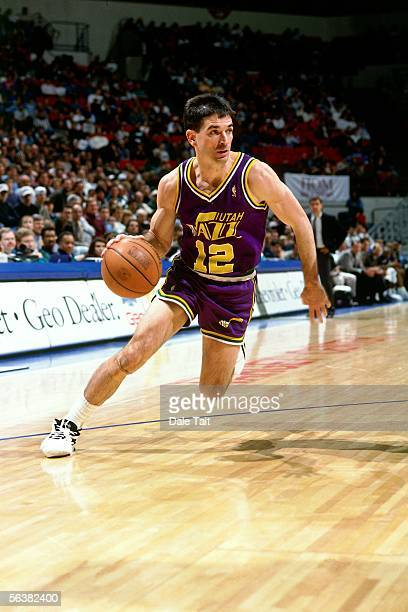 John Stockton of the Utah Jazz drives to the basket against the Minnesota Timberwolves during an NBA game on November 18 1996 at the Target Center in...