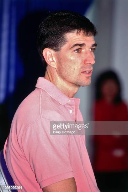 John Stockton of the Utah Jazz talks with media at the post game interview after the game against the Chicago Bulls on June 8 1997 at the Delta...