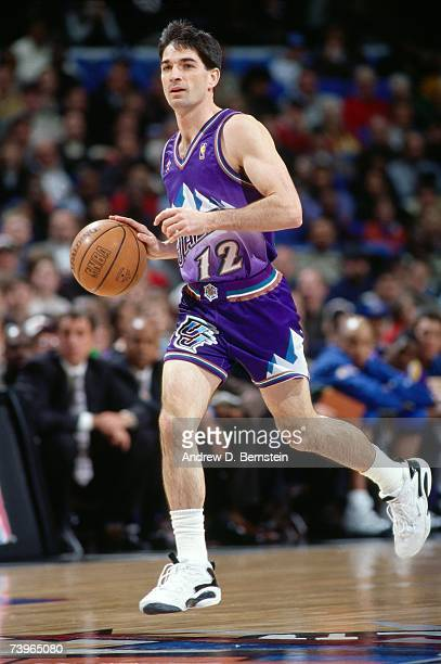 John Stockton of the Western Conference dribbles upcourt during the 1997 AllStar Game on February 9 1997 at Gund Arena in Cleveland Ohio NOTE TO USER...