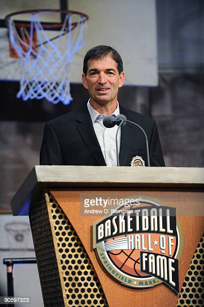 John Stockton speaks to the media during media availability at the Naismith Memorial Basketball Hall of Fame on September 11 2009 in Springfield...