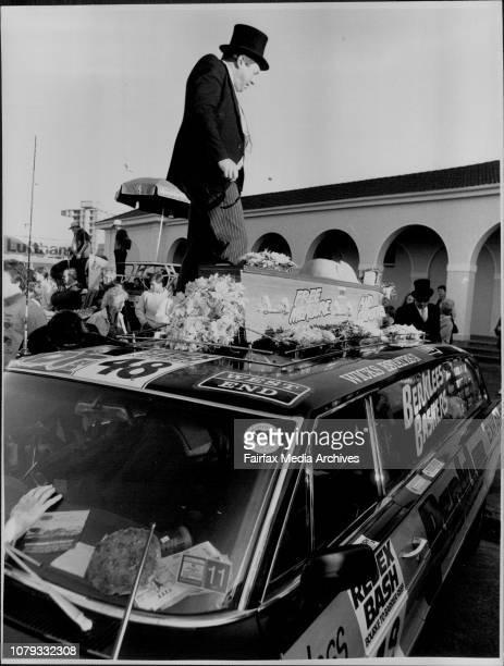 John Stoddard makes last arrangement with coffin on 1964 Chevrolet June 20 1987