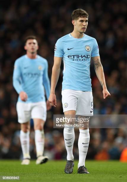 John Stones and Aymeric Laporte of Manchester Cityduring the UEFA Champions League Round of 16 Second Leg match between Manchester City and FC Basel...
