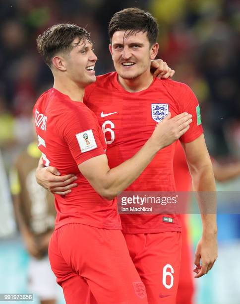 John Stones and Harry Maguire of England celebrates during the 2018 FIFA World Cup Russia Round of 16 match between Colombia and England at Spartak...