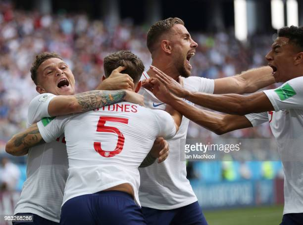 John Stones celebrates with Kieran Trippier and Jordan Henderson of England are scoring his first goal during the 2018 FIFA World Cup Russia group G...