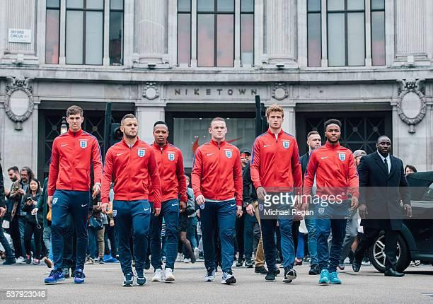 John Stones, Jack Wilshere, Nathanial Clyne, Wayne Rooney, Eric Dier and Raheem Sterling during London's England National Team Send-Off at NikeTown...