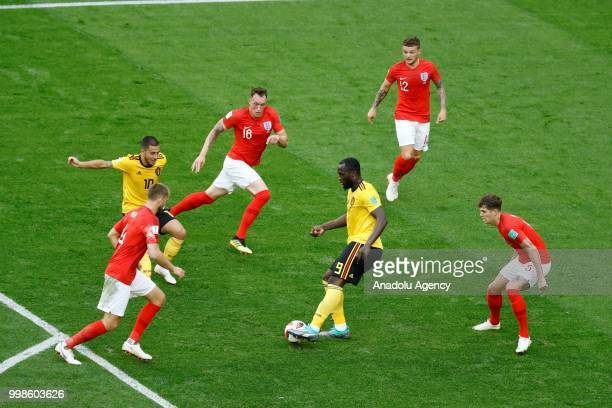 John Stones Kieran Trippier and Phil Jones of England in action against Romelu Lukaku of Belgium during the 2018 FIFA World Cup Russia PlayOff for...