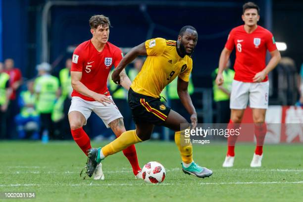 John Stones of England and Romelu Lukaku of Belgium battle for the ball during the 2018 FIFA World Cup Russia 3rd Place Playoff match between Belgium...