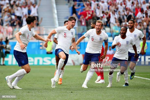John Stones of England celebrates after scoring his sides fourth goal during the 2018 FIFA World Cup Russia group G match between England and Panama...