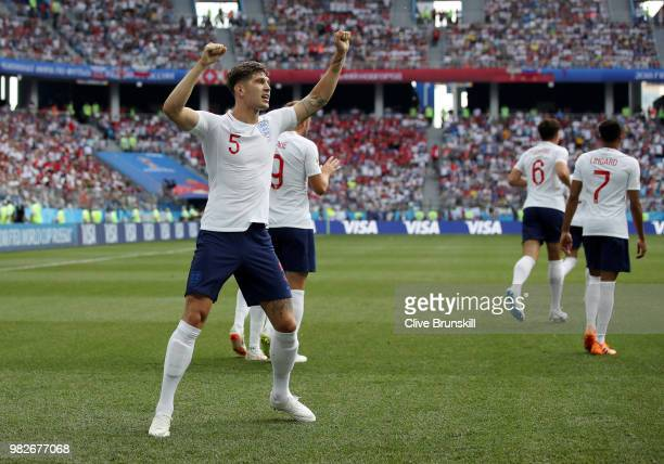 John Stones of England celebrates after scoring his team's first goal during the 2018 FIFA World Cup Russia group G match between England and Panama...