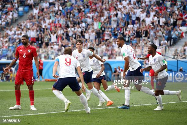 John Stones of England celebrates after scoring his team's fourth goal during the 2018 FIFA World Cup Russia group G match between England and Panama...