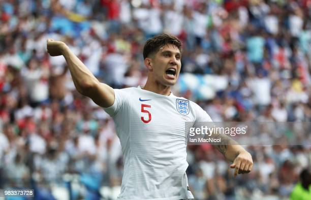 John Stones of England celebrates after scoring the opening goal during the 2018 FIFA World Cup Russia group G match between England and Panama at...