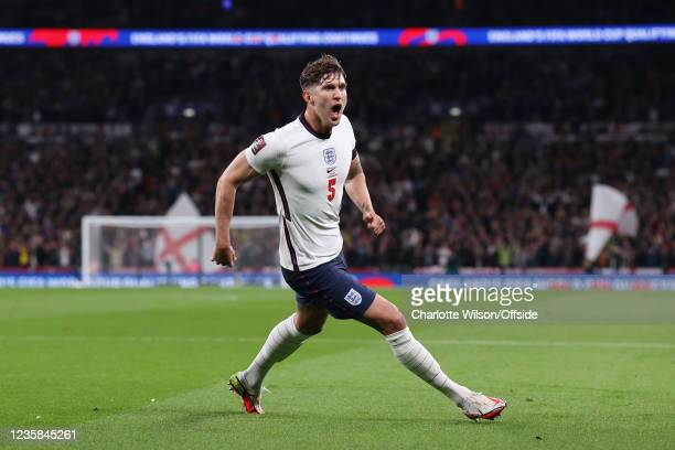 John Stones of England celebrates after scoring their 1st goal during the 2022 FIFA World Cup Qualifier match between England and Hungary at Wembley...