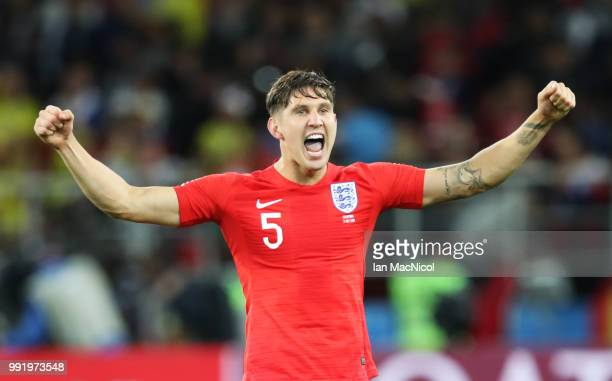 John Stones of England celebrates during the 2018 FIFA World Cup Russia Round of 16 match between Colombia and England at Spartak Stadium on July 3...