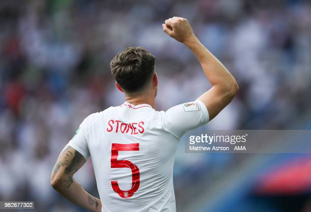 John Stones of England celebrates scoring a goal to make it 10 during the 2018 FIFA World Cup Russia group G match between England and Panama at...