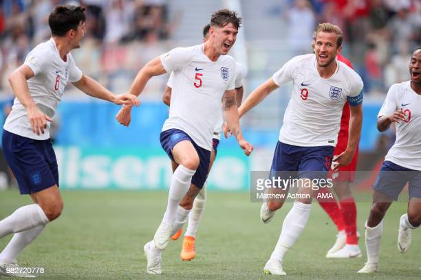 John Stones of England celebrates scoring a goal to make it 40 with his teammates during the 2018 FIFA World Cup Russia group G match between England...