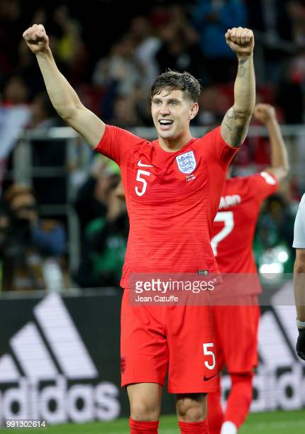 John Stones of England celebrates the victory following the 2018 FIFA World Cup Russia Round of 16 match between Colombia and England at Spartak...
