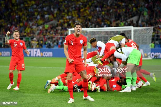 John Stones of England celebrates victory after the 2018 FIFA World Cup Russia Round of 16 match between Colombia and England at Spartak Stadium on...