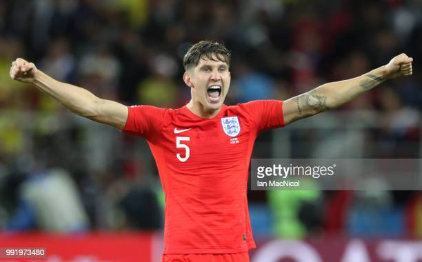 John Stones of England celebrates victory in a penalty shoot out during the 2018 FIFA World Cup Russia Round of 16 match between Colombia and England...