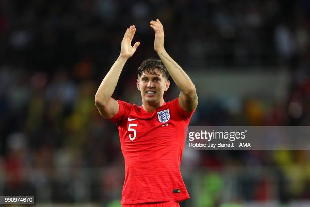 John Stones of England celebrates winning a penalty shootout at the end of extra time during the 2018 FIFA World Cup Russia Round of 16 match between...