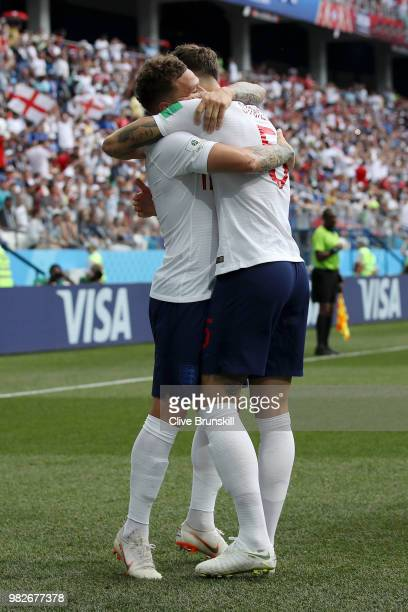 John Stones of England celebrates with teammate Kieran Trippier after scoring his team's first goal during the 2018 FIFA World Cup Russia group G...