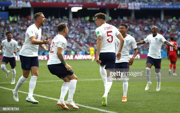 John Stones of England celebrates with teammates after scoring his team's first goal during the 2018 FIFA World Cup Russia group G match between...
