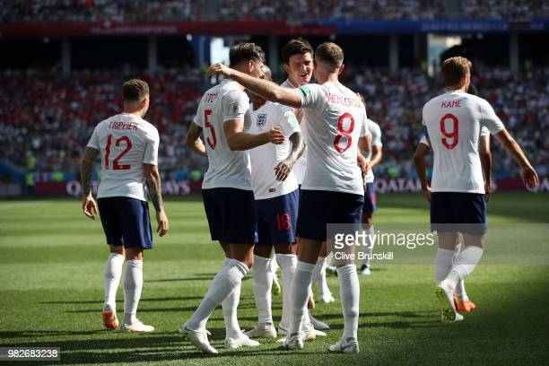 John Stones of England celebrates with teammates after scoring his team's fourth goal during the 2018 FIFA World Cup Russia group G match between...