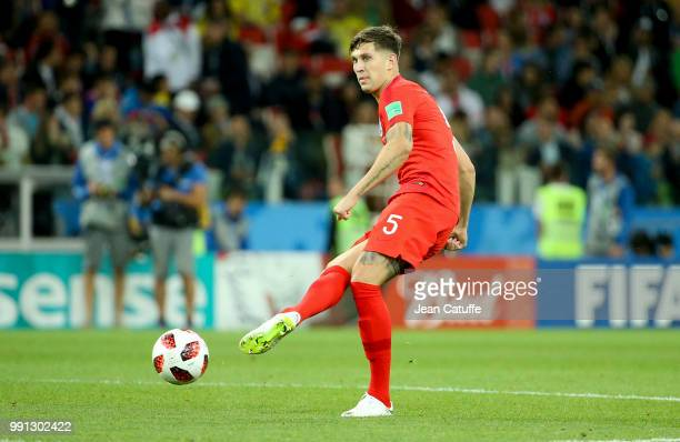 John Stones of England during the 2018 FIFA World Cup Russia Round of 16 match between Colombia and England at Spartak Stadium on July 3 2018 in...
