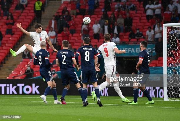John Stones of England hits the post from a header during the UEFA Euro 2020 Championship Group D match between England and Scotland at Wembley...