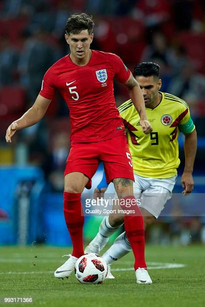 John Stones of England in action during the 2018 FIFA World Cup Russia Round of 16 match between Colombia and England at Spartak Stadium on July 3...