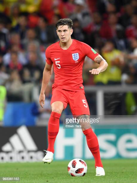 John Stones of England in action during the 2018 World Cup Russia Round of 16 match between Colombia and England at Spartak Stadium on July 3 2018 in...