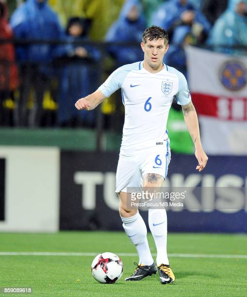 John Stones of England in action during the FIFA 2018 World Cup qualifier between Lithuania and England on October 8 2017 in Vilnius Lithuania
