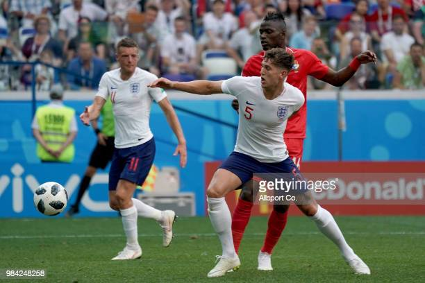 John Stones of England is challenged by Abdiel Arroyo of Panama during the 2018 FIFA World Cup Russia group G match between England and Panama at...