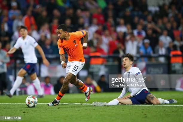 John Stones of England is dispossessed by Memphis Depay of Netherlands leading to the second goal for the Netherlands during the UEFA Nations League...