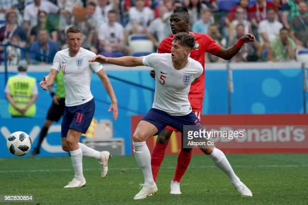 John Stones of England is pursuit by Abdiel Arroyo of Panama during the 2018 FIFA World Cup Russia group G match between England and Panama at Nizhny...