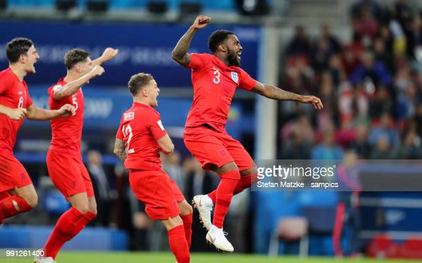 John Stones of England Kieran Trippier of England Danny Rose of England celebrates victory in a penalty shoot out during the 2018 FIFA World Cup...