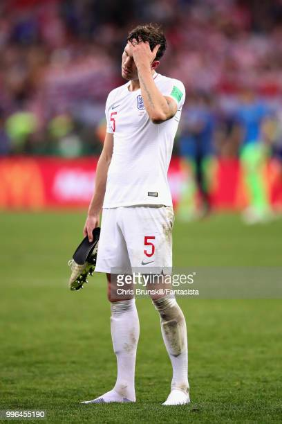 John Stones of England looks dejected after the 2018 FIFA World Cup Russia Semi Final match between England and Croatia at Luzhniki Stadium on July...