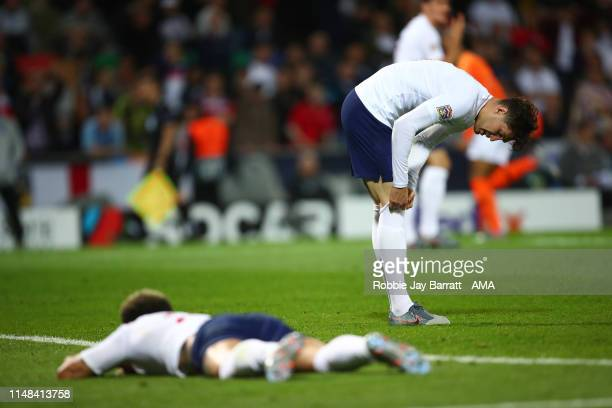 John Stones of England pulls up his socks after his mistake lead to the Netherlands scoring to make it 21 during the UEFA Nations League SemiFinal...