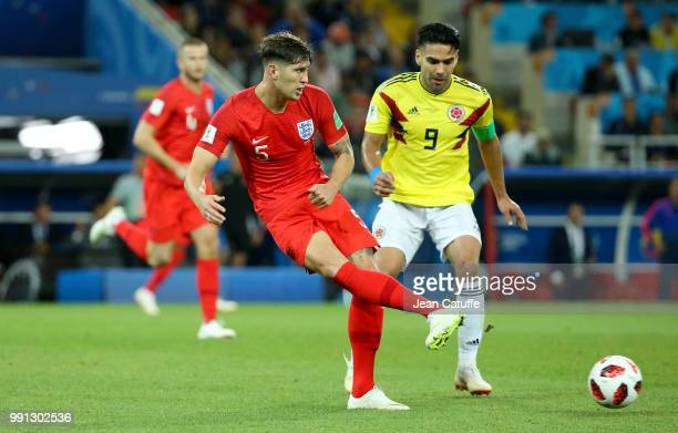 John Stones of England Radamel Falcao of Colombia during the 2018 FIFA World Cup Russia Round of 16 match between Colombia and England at Spartak...