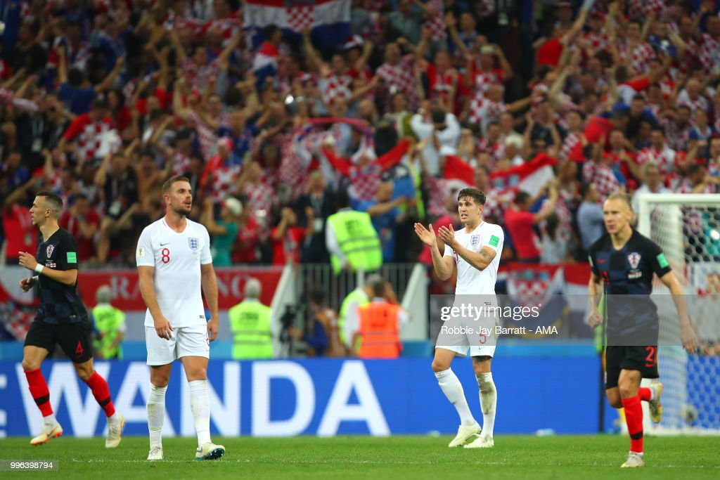 John Stones of England reacts after Ivan Perisic of Croatia scored a goal to make it 1-1 during the 2018 FIFA World Cup Russia Semi Final match between Croatia and England at Luzhniki Stadium on July 11, 2018 in Moscow, Russia.