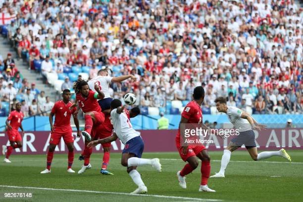 John Stones of England scores his team's first goal during the 2018 FIFA World Cup Russia group G match between England and Panama at Nizhny Novgorod...