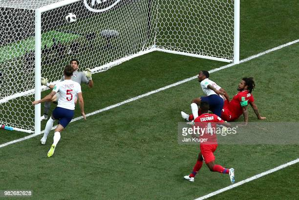 John Stones of England scores his team's fourth goal during the 2018 FIFA World Cup Russia group G match between England and Panama at Nizhny...