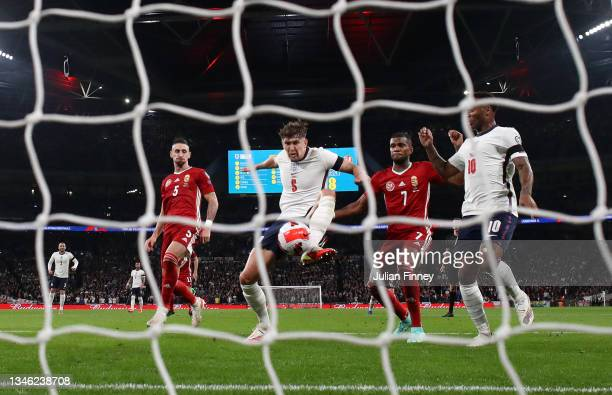 John Stones of England scores their team's first goal during the 2022 FIFA World Cup Qualifier match between England and Hungary at Wembley Stadium...