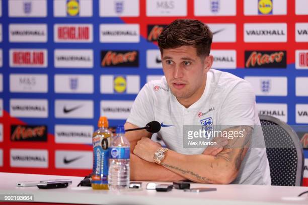 John Stones of England speaks to the media during a press conference at Repino Cronwell Park Hotel on July 5 2018 in Saint Petersburg Russia