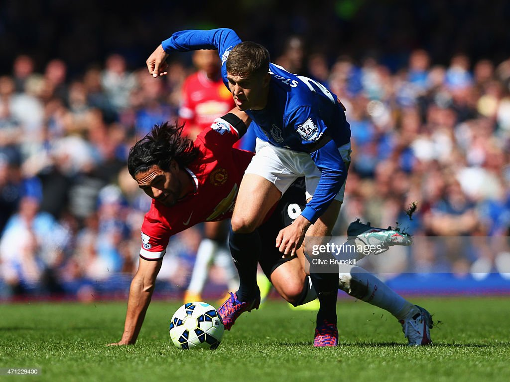 John Stones of Everton battles with Radamel Falcao Garcia of Manchester United during the Barclays Premier League match between Everton and Manchester United at Goodison Park on April 26, 2015 in Liverpool, England.