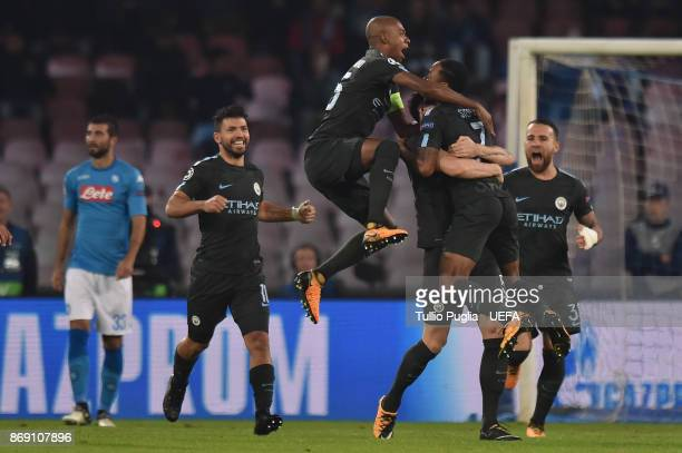 John Stones of Mancester City celebrates after scoring his team's second goal during the UEFA Champions League group F match between SSC Napoli and...